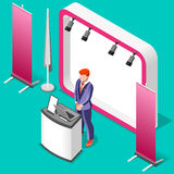 Exhibition Booth Stand 3D Isometric People Vector Illustration Stock Photos