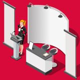 Exhibition Booth Stand 3D People Isometric Vector Illustration Royalty Free Stock Photography