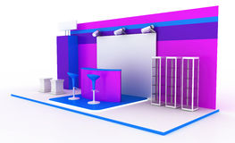 Exhibition booth on white. Blank and empty trade kiosk on white, original design, 3d illustration royalty free illustration