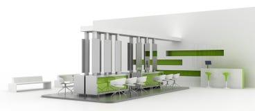 Exhibition booth on white. Blank and empty trade kiosk on white, original design, 3d illustration stock illustration