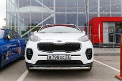 Exhibition car stands in front of the building of KIA MOTORS car selling and service center. Ulyanovsk, Russia - October 06, 2018: New KIA Sportage - exhibition stock photography