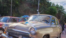 Exhibition of cars in the summer in Komsomolsk-on-Amur retro cars and tuned cars royalty free stock photo