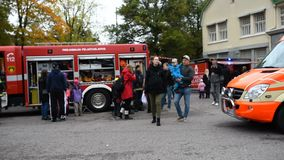 Exhibition on central fire station in Tampere stock video footage