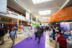Exhibition centre interior. DUBAI - OCT 16: exhibition centre interior on October 16, 2014. Dubai is the most populous city and emirate in the UAE, and the Stock Photo