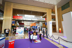 Exhibition centre interior. DUBAI - OCT 16: exhibition centre interior on October 16, 2014. Dubai is the most populous city and emirate in the UAE, and the Stock Photos