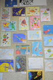 Exhibition of children`s drawings Stock Photography