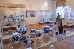 Exhibition of Chinaware in the traditional Russian style at the Museum of Fine Arts, Veliky Novgorod, Russia Royalty Free Stock Photography