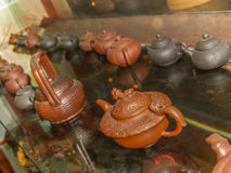 Exhibition of Chinese clay teapots Royalty Free Stock Photo