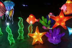 Exhibition of Chinese lanterns stock images