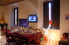 Exhibition of Christmas decorations. Date: December 8, 2014 Event:exhibition of Christmas decorations in the medieval Pallotta Palace in the city of Caldarola Stock Photo