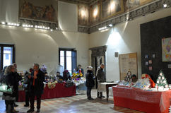 Exhibition of Christmas decorations. Date: December 8, 2014 Event:exhibition of Christmas decorations in the medieval Pallotta Palace in the city of Caldarola Royalty Free Stock Photo
