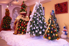 Exhibition of Christmas trees. Exhibition of designer Christmas trees Royalty Free Stock Photos