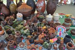 Exhibition of pottery for sale royalty free stock images