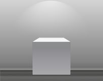 Exhibition Concept, White Empty Box, Stand with Illumination on Gray Background. Template for Your Content. 3d Vector. Illustration EPS10 Stock Photos