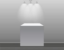 Exhibition Concept, White Empty Box, Stand with Illumination on Gray Background. Template for Your Content. 3d Vector. Illustration EPS10 Royalty Free Stock Photography