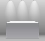 Exhibition Concept, White Empty Box, Stand with Illumination on Gray Background. Template for Your Content. 3d Vector. Illustration EPS10 Stock Images