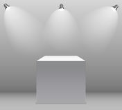 Exhibition Concept, White Empty Box, Stand with Illumination on Gray Background. Template for Your Content. 3d Vector. Illustration EPS10 Royalty Free Stock Images