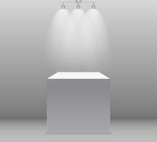Exhibition Concept, White Empty Box, Stand with Illumination on Gray Background. Template for Your Content. 3d Vector. Illustration EPS10 Royalty Free Stock Image