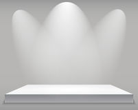 Exhibition Concept, White Empty Shelf  Stand with Illumination on Gray Background. Template for Your Content. 3d Vecto. R Illustration EPS10 Stock Photos