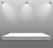 Exhibition Concept, White Empty Shelf  Stand with Illumination on Gray Background. Template for Your Content. 3d Vecto. R Illustration EPS10 Royalty Free Stock Image