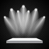 Exhibition Concept, White Empty Shelf  Stand with Illumination on Gray Background. Template for Your Content. 3d Vecto. R Illustration EPS10 Stock Images