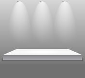 Exhibition Concept, White Empty Shelf  Stand with Illumination on Gray Background. Template for Your Content. 3d Vecto. R Illustration EPS10 Stock Photography