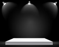 Exhibition Concept, White Empty Shelf  Stand with Illumination on Gray Background. Template for Your Content. 3d Vecto. R Illustration EPS10 Royalty Free Stock Photo