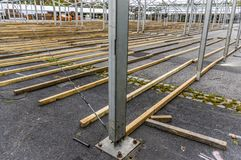 Exhibition construction of a regional fair, tent construction, a. Luminum poles and squared timber for tent floor in the fair tents, view over the exhibition stock images