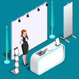 Exhibition 3D Booth Stand People Isometric Vector Illustration Stock Photo