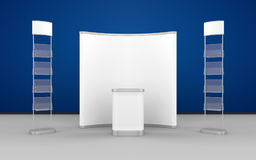 Exhibition Design With Pop-Up Stand, Literature Stand And Display Counter Stock Photos