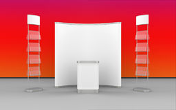 Exhibition Design With Pop-Up Stand, Literature Stand And Display Counter Royalty Free Stock Photo