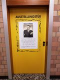 Exhibition doors for the victims of Auschwitz. DUISBURG, NRW, GERMANY - 9 Sep. 2017 The corridor of the comprehensive school Sued with exhibition doors for the Royalty Free Stock Image