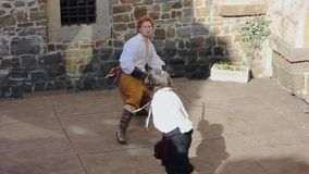 Exhibition duel at the seventeenth century historical reenactment in Gorizia stock video footage
