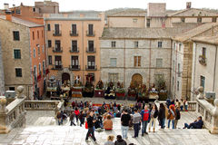 Exhibition of Easter steps in front of the Gerona Cathedral. At 10 pm the procession of the Holy Burial, with paraded of Easter steps and brotherhoods Stock Photos