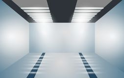 Exhibition empty 3D room with bright lighting. Presentation of cars, motorcycles, retro, valuables. Vector illustration. stock illustration