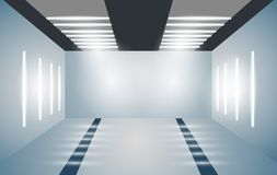 Exhibition empty 3D room with bright lighting. Presentation of cars, motorcycles, retro, valuables. Vector. royalty free illustration