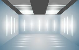 Exhibition empty 3D room with bright lighting. Presentation of cars, motorcycles, retro, valuables. Vector illustration. royalty free illustration