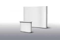 Exhibition fair stand. Blank exhibition fair stand desk and wall, apply your own design vector illustration