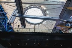 Exhibition of the famous Solar Impulse HB-SIA electric aircraft during the Science Fair 2018. Paris, France - October 6, 2018: Exhibition of the famous Solar stock image