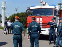 Exhibition of firefighting vehicles at the exhibition center in Moscow. MOSCOW, RUSSIA - JUNE 26, 2016: Exhibition of firefighting vehicles at the exhibition stock image