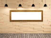Exhibition gallery picture frame on wood wall background Stock Image