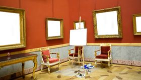 Gallery Interior with empty frame on wall. Royalty Free Stock Photography