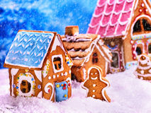 Exhibition gingerbread houses . Christmas food concept. Royalty Free Stock Photos