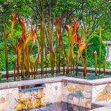 Exhibition of glass artist Chihuly in the Atlanta Botanical Gard Stock Images