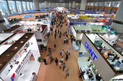 Exhibition hall. The exhibition hall of electronic and electrical products in the 110th Canton Fair, which officially known as the China Import and Export Fair Royalty Free Stock Photo