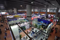 Exhibition hall. The exhibition hall of electronic and electrical products in the 110th Canton Fair, which officially known as the China Import and Export Fair Royalty Free Stock Photos