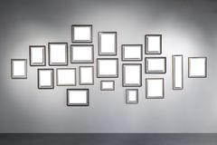 Exhibition hall. And blank frames Royalty Free Stock Photography