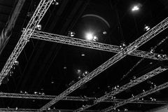 Exhibition Hall Ceiling. Construction with lights and speaker in the exhibition center Stock Photo