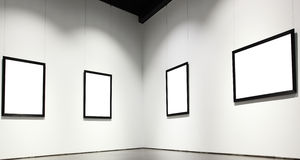 Exhibition hall. With empty frames on wall Royalty Free Stock Images