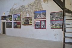 Exhibition of historical photos in the old palace. Stock Image